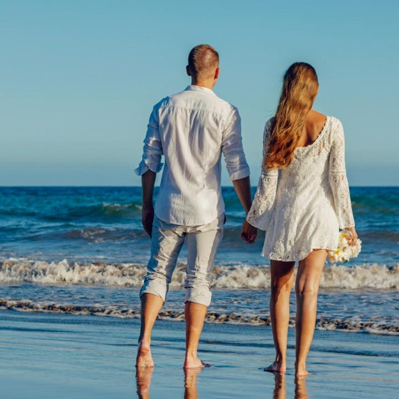 Spouses on the beach Taormina